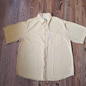 Columbia Yellow & Brown Plaid S/S Shirt Size XL